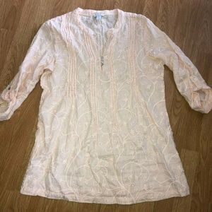 Kenar Linen Blouse Pink Large Embroidered